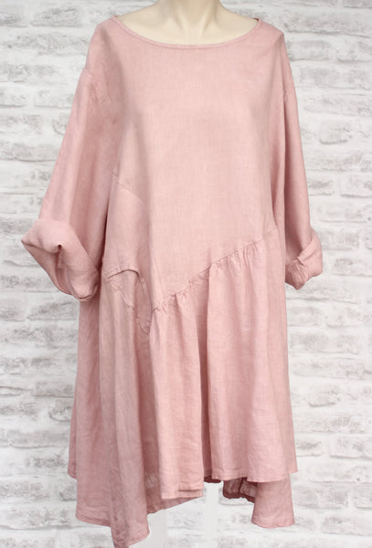 Pink Long Sleeve Linen Dress Mist Valley Clothing