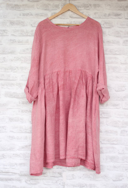 Long Sleeved Linen Dress Raspberry Pink
