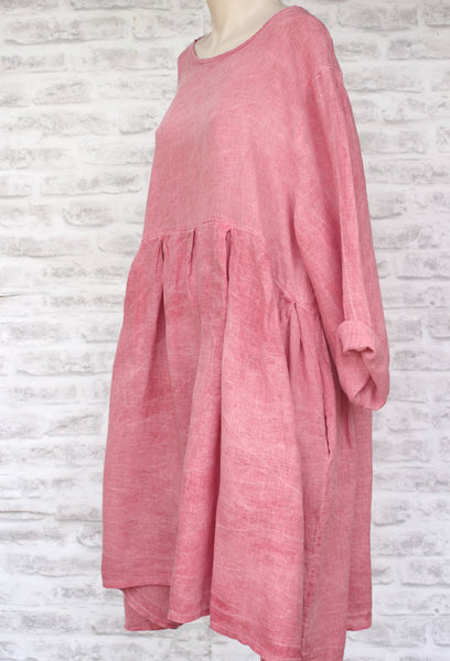 Side view Long Sleeved Linen Dress Raspberry Pink