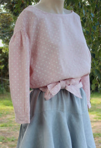 long sleeved linen top with small white spot design - Pin