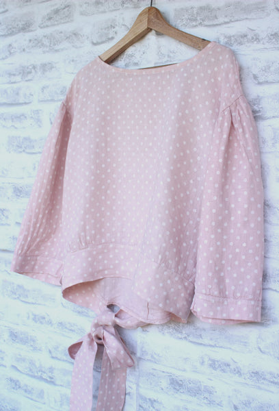 long sleeved linen top with small white spot design -Pink