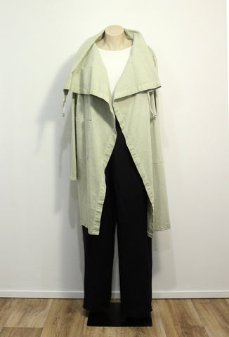 Long Cotton Jacket in Pistachio Green.