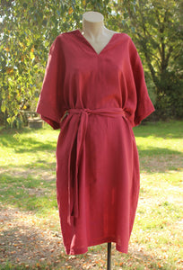 Rasberry V neck Linen dress - OffOn Clothing