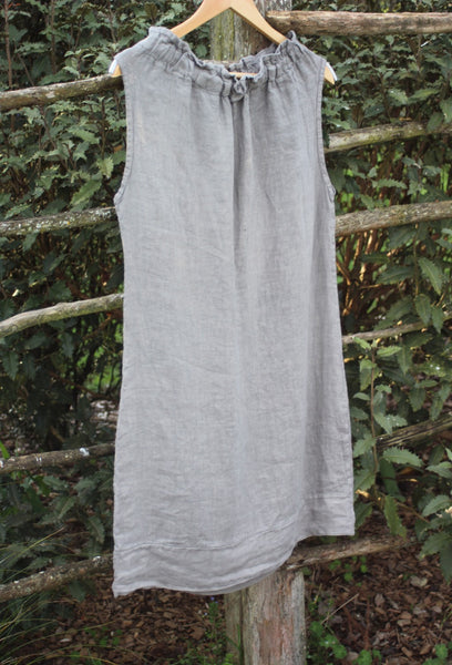 Short Italian Sleeveless Italian Linen Dress in Stone Colour