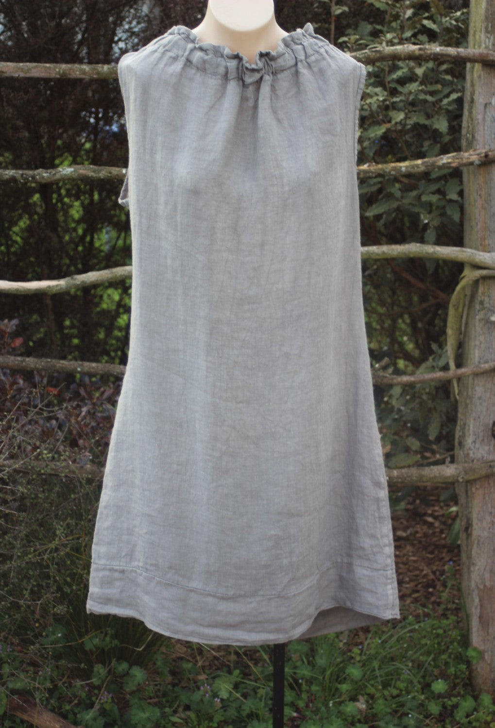 Short Italian Linen Dress with Ruffle Neck in Stone Colour