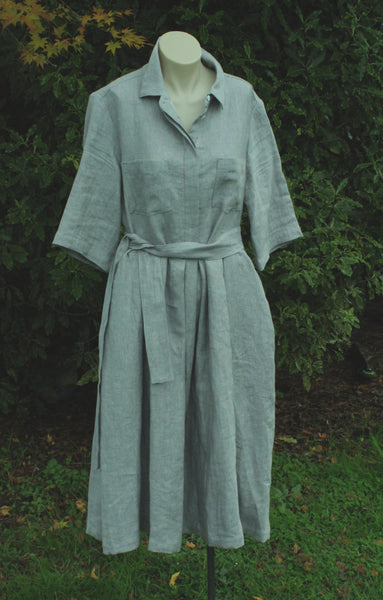 Shirt Linen Dress from OFFON clothing in Light Grey