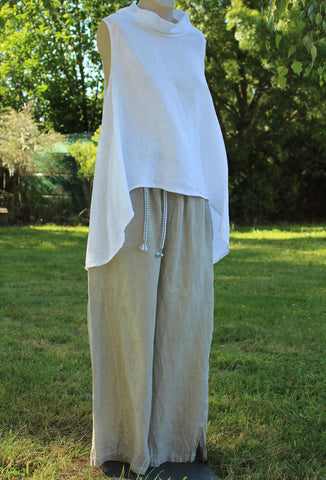 Long Jo Jo Italian Linen Pants in Stone Colour with White Top