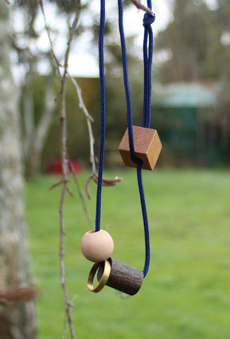 Playing With Blocks Necklace Navy