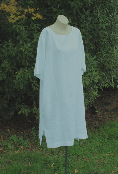 White Linen Oversize Dress OffOn Clothing