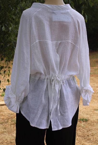 Rear View White Linen Shirt with Tie Back Mist Valley Clothing
