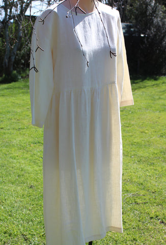 Loose Fit Linen Dress in Ivory- OffOn Clothing