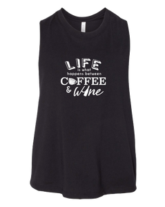 Life Between Coffee & Wine Cropped Tank Top