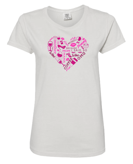 Heart Collage Pink Short Sleeve