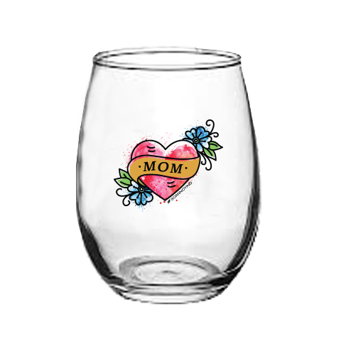Mom Tattoo Stemless Wine Glass