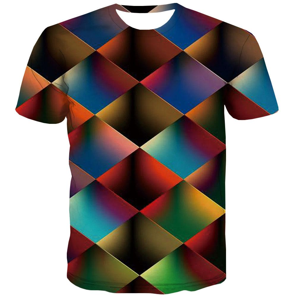 Square T-shirt Men Graphic T-shirts Graphic Casual T-shirts 3d Rainbow Tshirts Cool Geometric Tshirt Anime Short Sleeve - KYKU