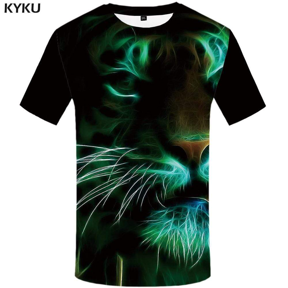 Tiger T-shirts Men Animal Tshirts Print Fluorescence T-shirt 3d Black T shirts Funny Gothic Tshirt Anime Mens Fashion Casual