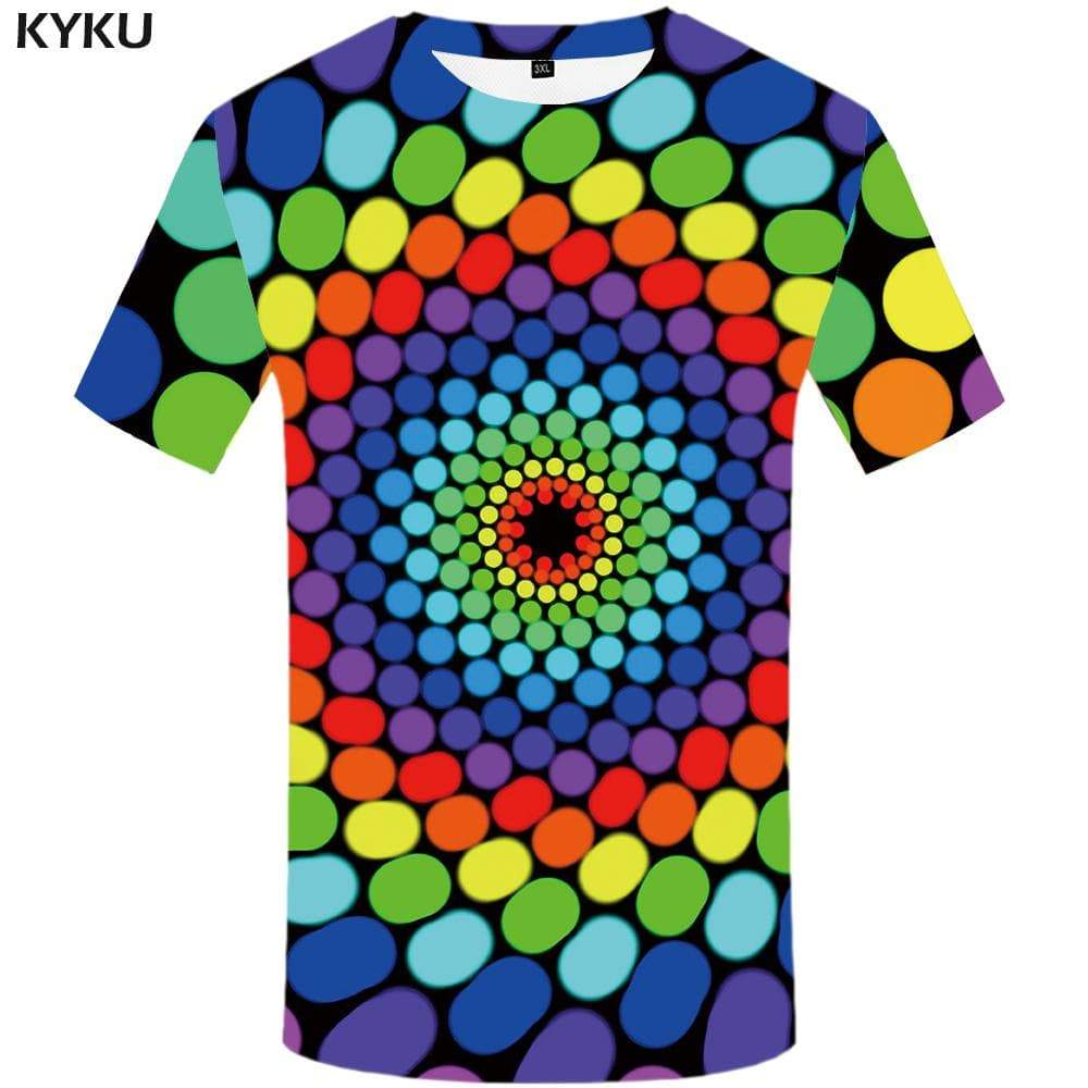 Psychedelic T shirt Men Colorful T-shirt 3d Dizziness Tshirt Anime Vortex Tshirts Print Geometric T shirts Funny Mens Fashion