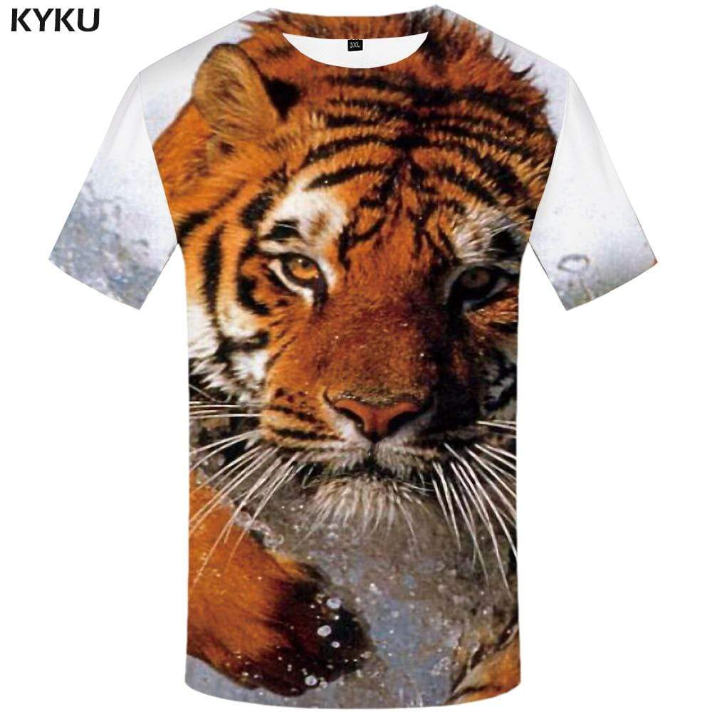 Tiger T-shirts Men Water T shirts Funny Animal Tshirts Print Funny Tshirt Anime Harajuku T-shirt 3d Mens Fashion Short Sleeve
