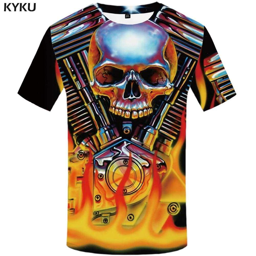 Skull T shirt Men Metal Tshirts Print Flame T-shirt 3d Motorcycle T shirts Funny Mechanical Tshirt Anime Mens Clothing Hip hop