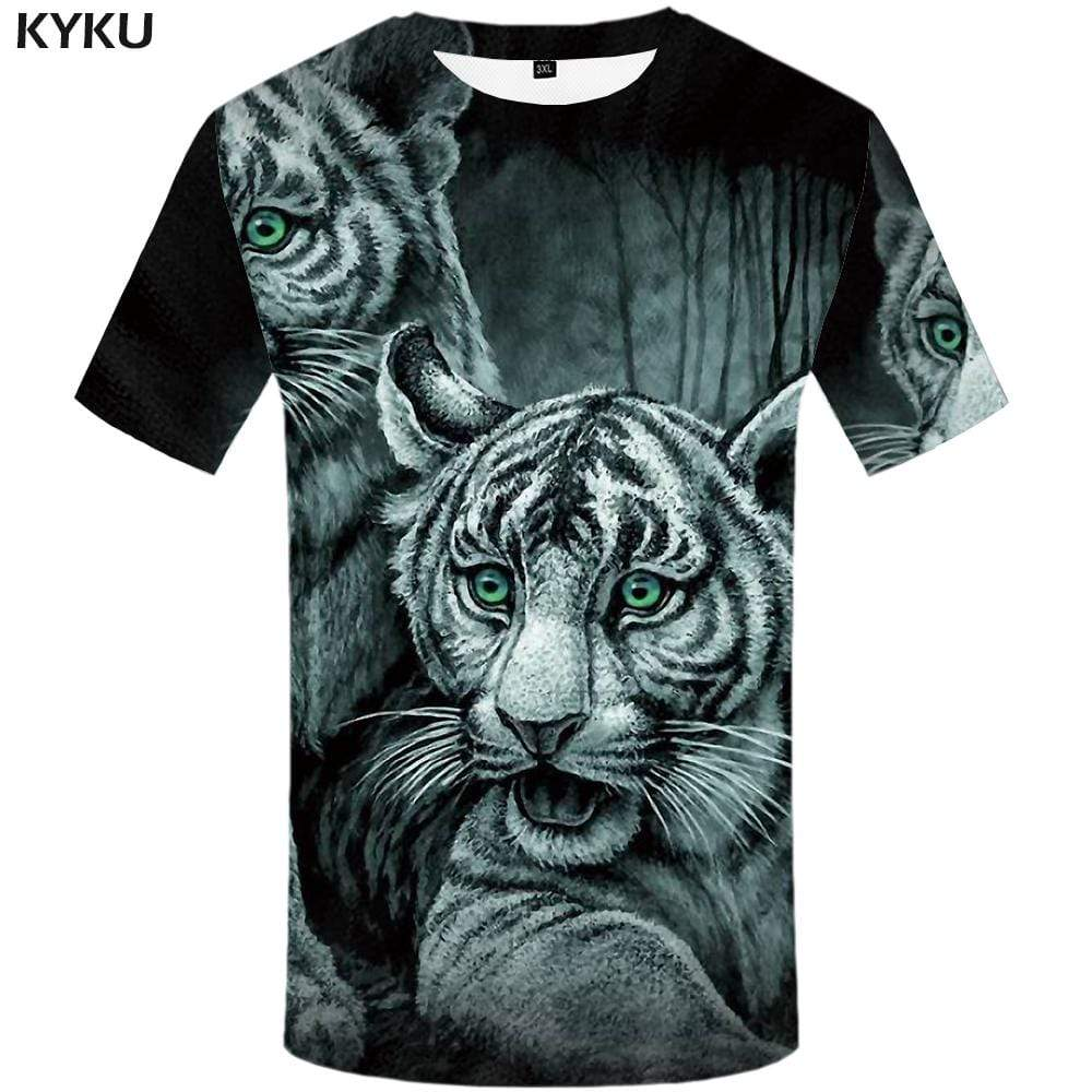 Tiger T shirt Men Animal Tshirt Anime Forest T shirts Funny Gray T-shirt 3d Retro Tshirts Print Mens Fashion Casual Unisex