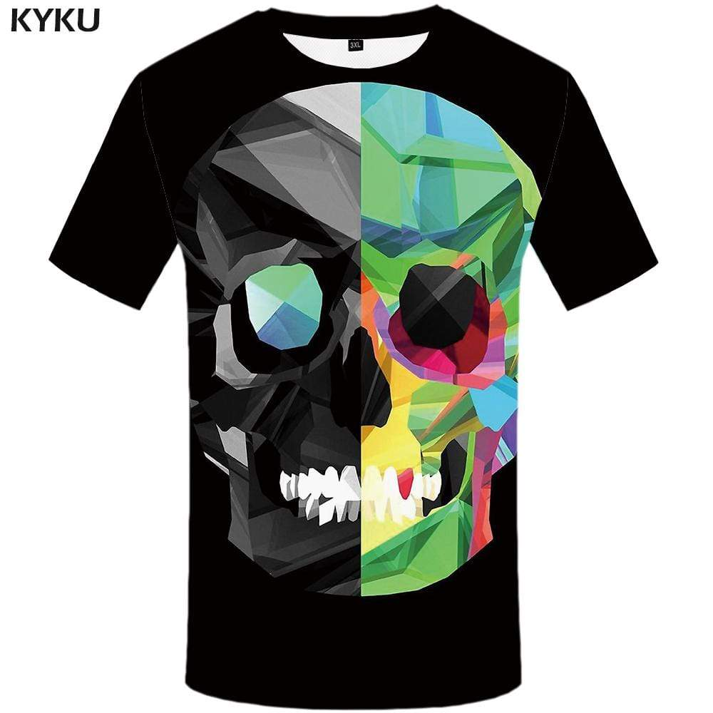 Skull T shirt Men Geometric T-shirt 3d Graffiti T shirts Funny Colorful Tshirts Print Black Tshirt Anime Mens Fashion