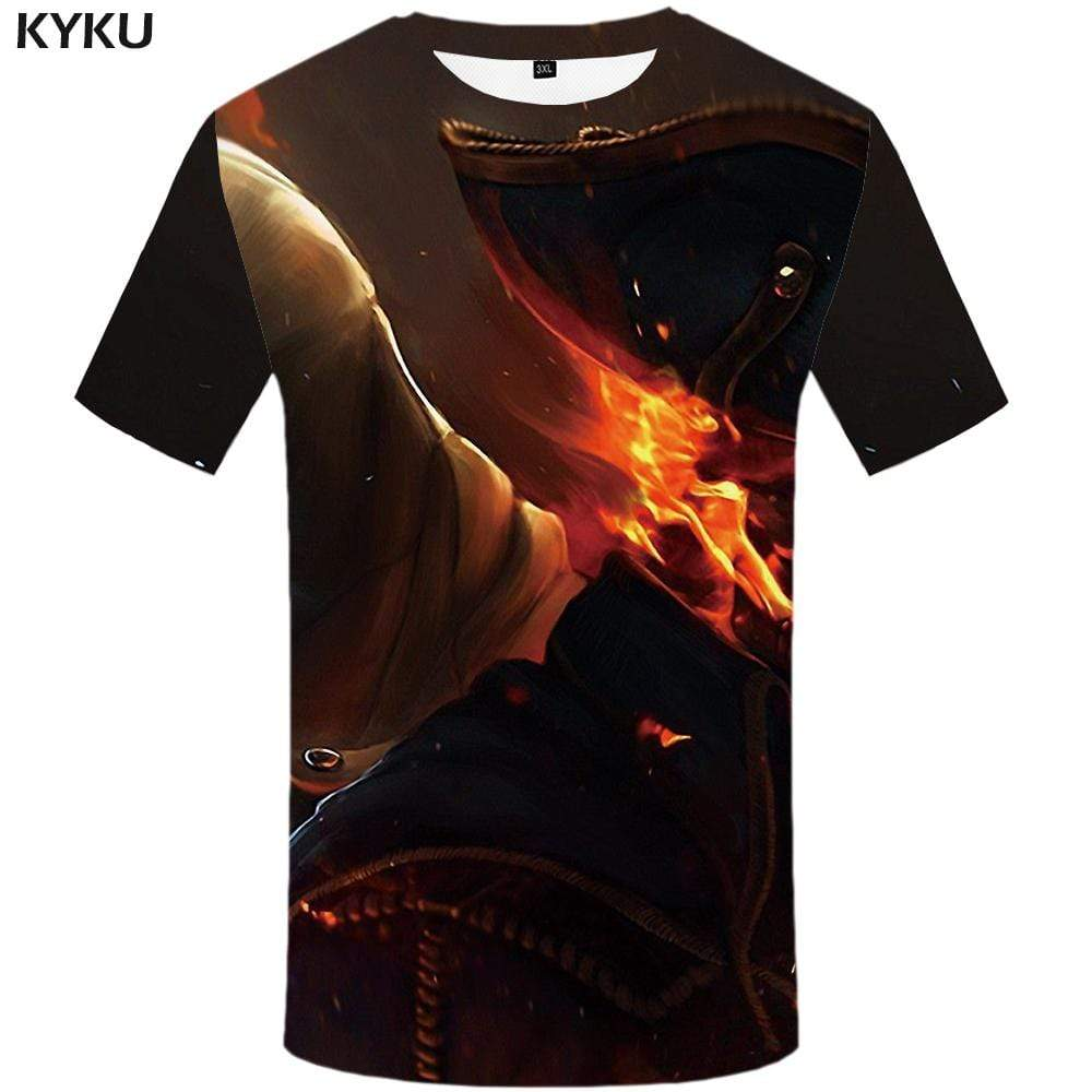 Skull T-shirts Men Fire Tshirts Print Gray T shirts Funny Flame T-shirt 3d Gothic Tshirt Anime Mens Fashion Hip hop Unisex