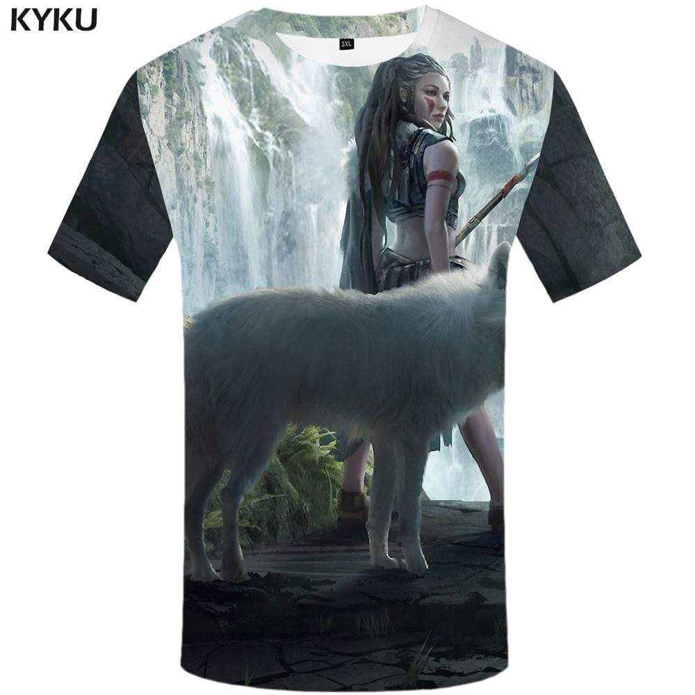 KYKU Brand Wolf T shirt Men Beauty T shirts Funny Animal T-shirt 3d Waterfall Tshirt Anime Anime Tshirts Print Mens Clothing