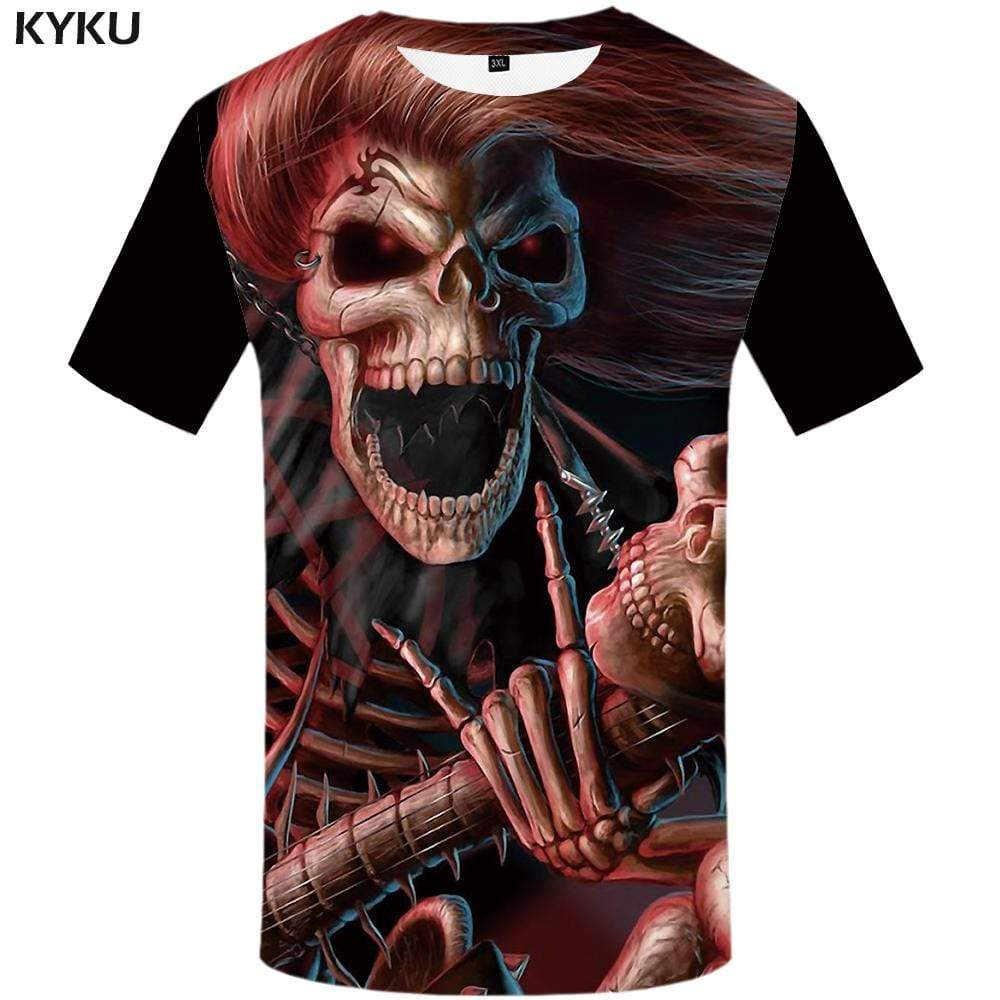 Skull T-shirts Men Skeleton Tshirt Anime Gothic T-shirt 3d Music T shirts Funny Red Tshirts Print Mens Fashion Graphic Unisex
