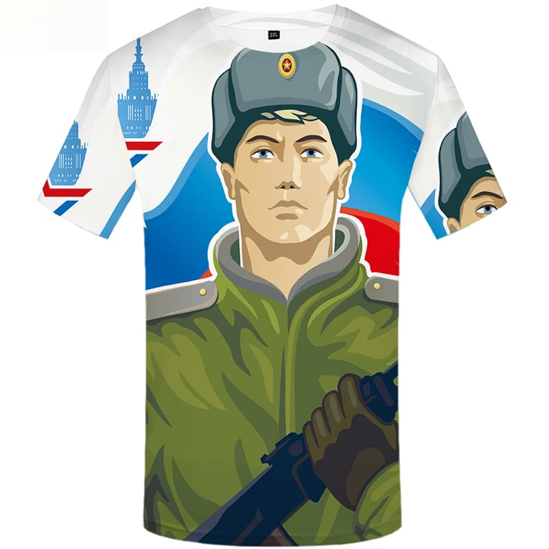 Military T-shirt Men Russia T-shirts Graphic War Shirt Print Short Sleeve summer