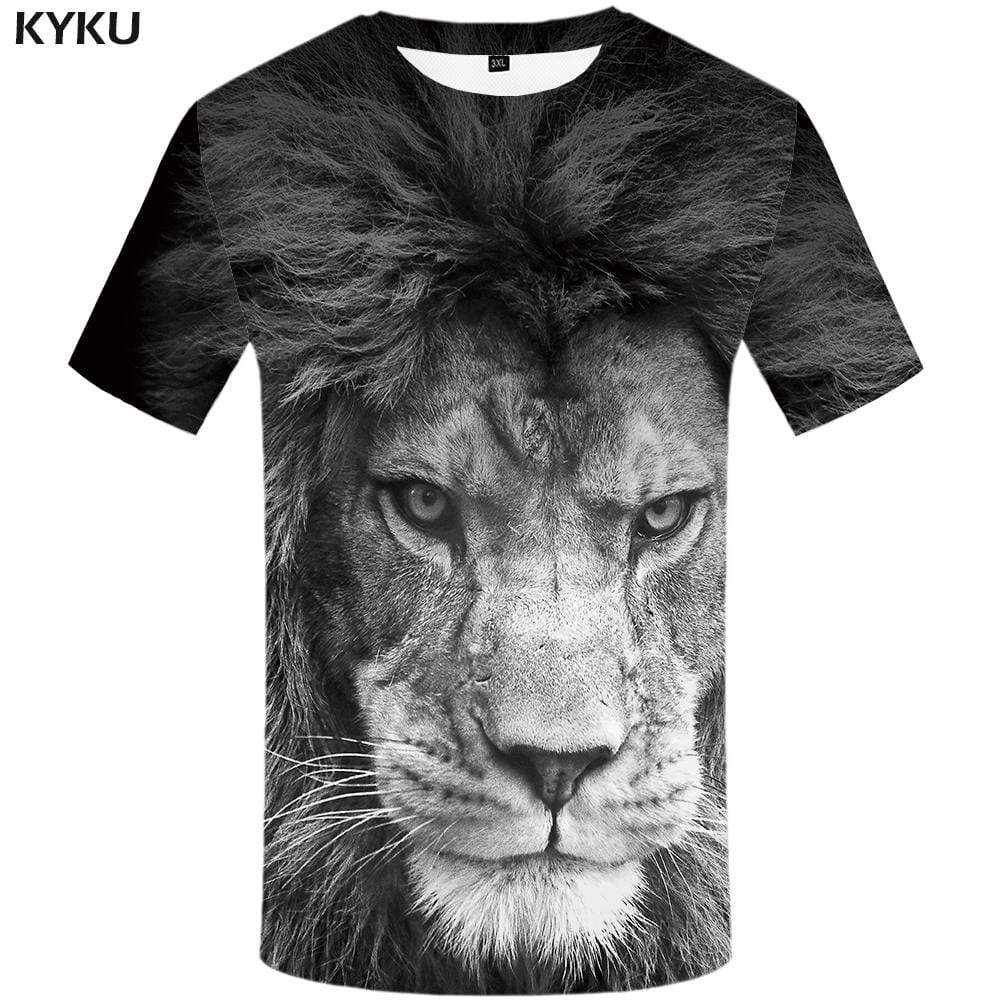 Lion T shirt Men Gray Tshirts Print Animal Tshirt Anime Gothic T shirts Funny T-shirt 3d Mens Clothing Graphic Unisex Tee Top