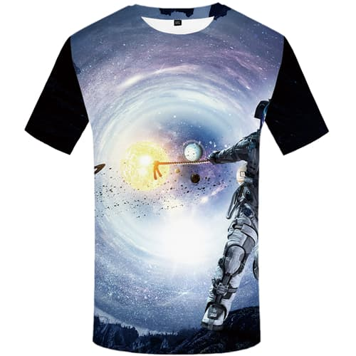 Galaxy T-shirt Men Astronaut T-shirts Graphic Moon Tshirts Casual Short Sleeve