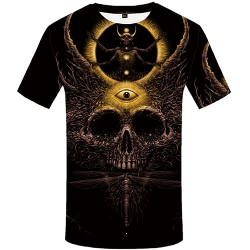 Skull T-shirt Men Black T-shirts 3d Flame Tshirt Printed Short Sleeve Full Print