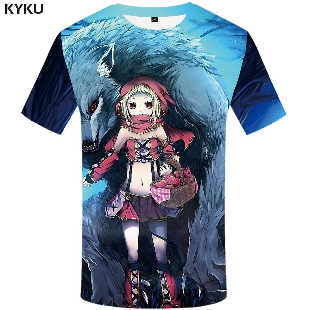 KYKU Wolf T-shirts Men Beauty Tshirt Anime Animal T-shirt 3d Apple T shirts Funny Character Tshirts Print Mens Clothing