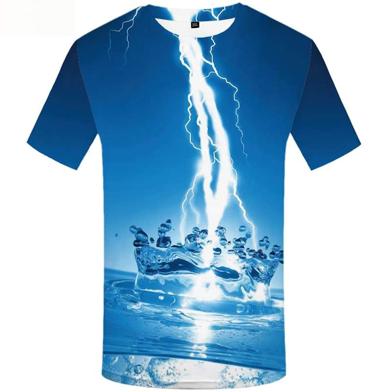 Lightning T shirts Men Water Tshirt Printed Space T-shirts 3d Short Sleeve