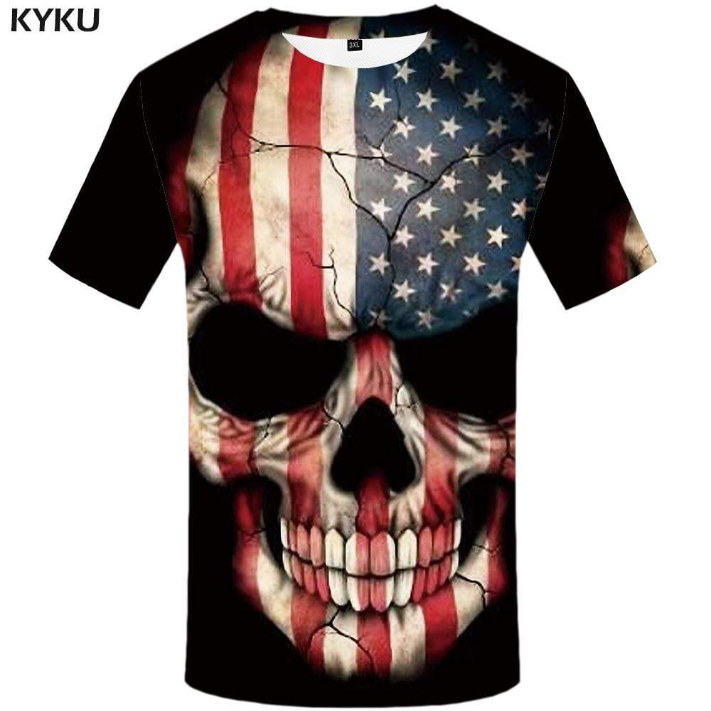 Skull T-shirts Men American Flag T shirts Funny Usa T-shirt 3d Graffiti Tshirts Print Punk Tshirt Anime Mens Fashion