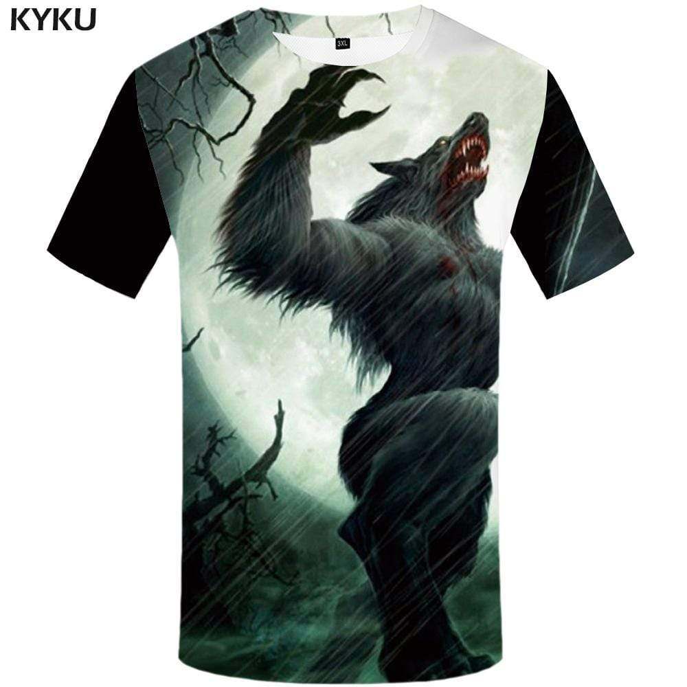 KYKU Wolf T-shirts Men Moon Tshirt Anime Animal T shirts Funny War Tshirts Print Blood T-shirt 3d Mens Clothing Casual Cool