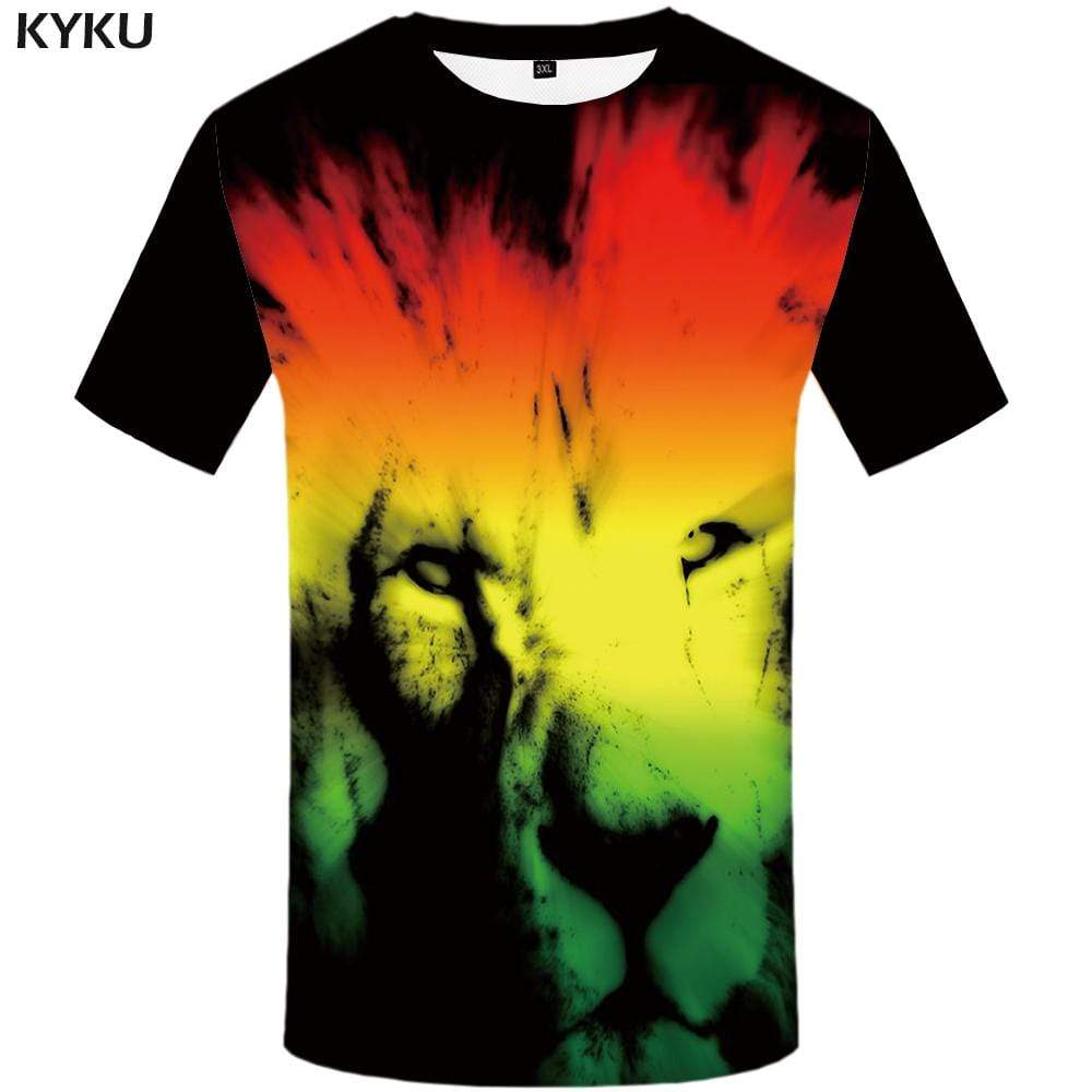 Lion T-shirts Men Animal Tshirt Anime Abstract T-shirt 3d Art Tshirts Print Gothic T shirts Funny Mens Fashion Casual Unisex