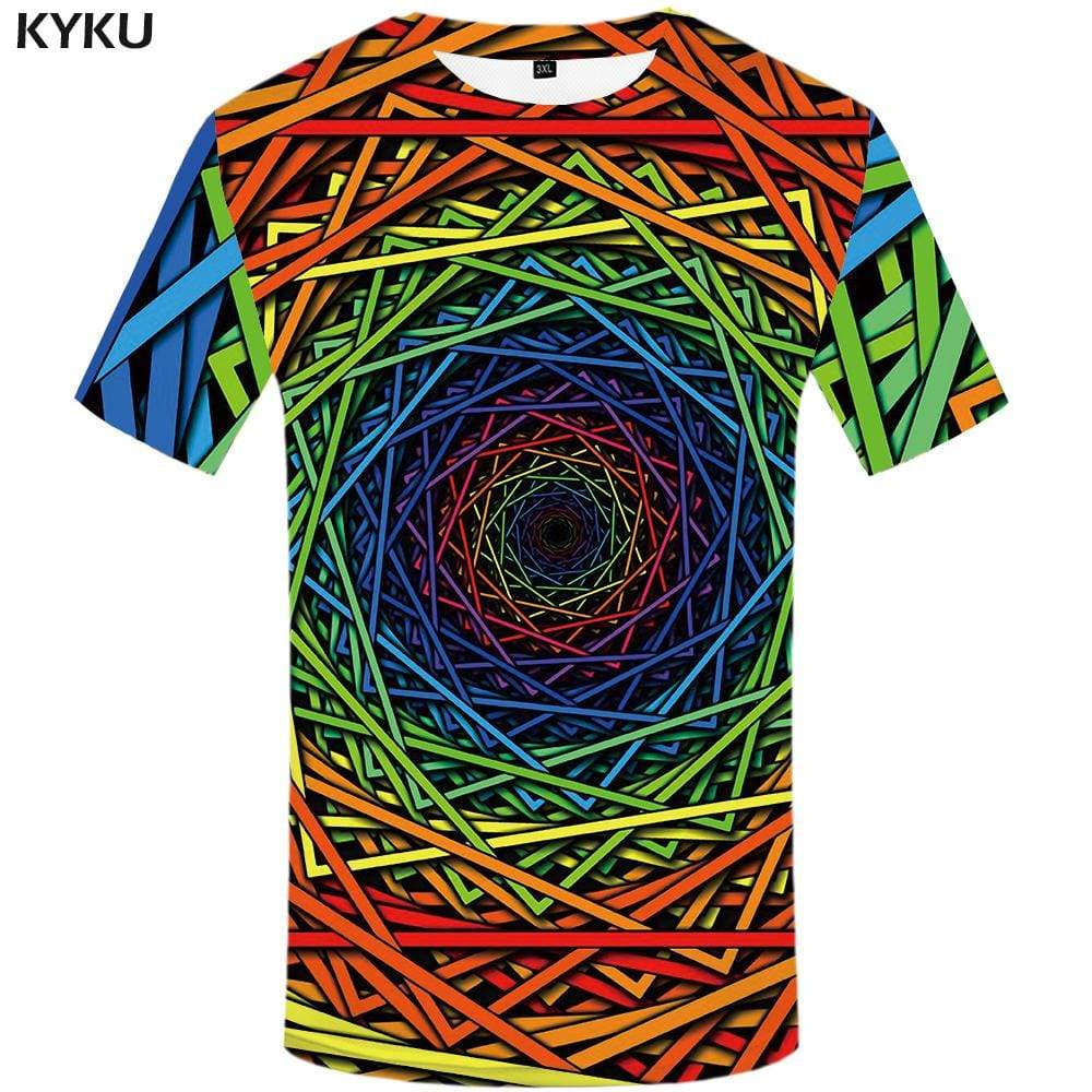 Psychedelic T shirt Men Geometric T shirts Funny Vortex T-shirt 3d Dizziness Tshirts Print Colorful Tshirt Anime Mens Fashion