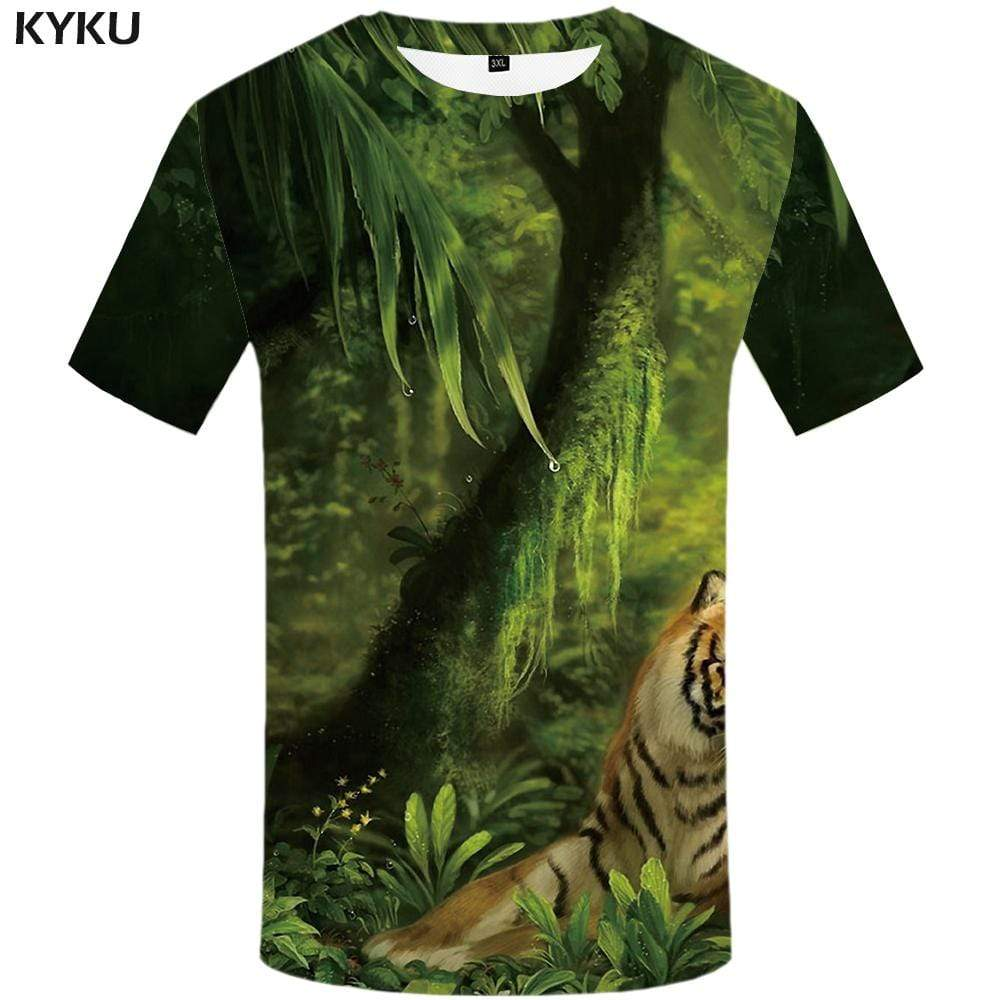 Tiger T-shirts Men Forest Tshirt Anime Leaves T-shirt 3d Green T shirts Funny Animal Tshirts Print Mens Fashion Graphic Unisex
