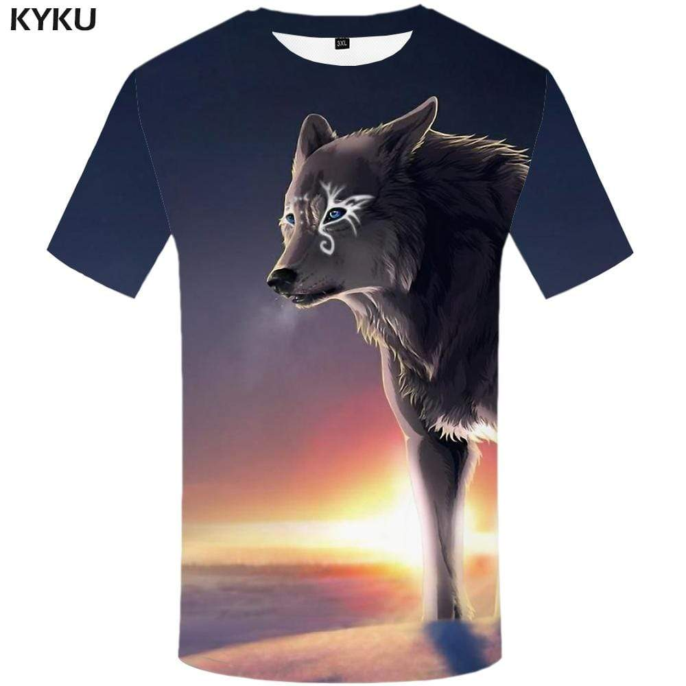 KYKU Brand Wolf T-shirts Men Colorful T-shirt 3d Animal T shirts Funny King Tshirts Print Sky Tshirt Anime Mens Clothing Hip hop