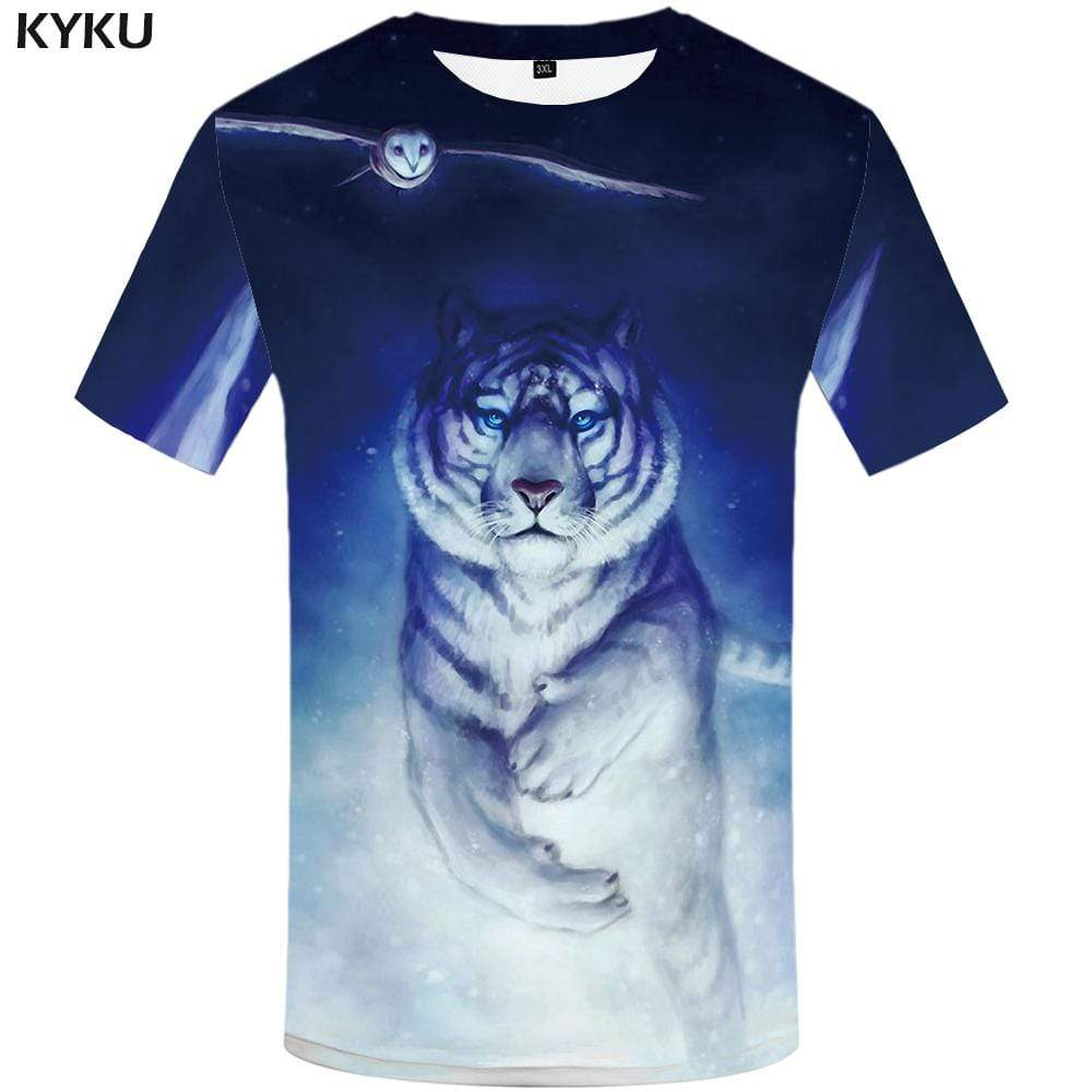 Tiger T shirt Men Owl Tshirts Print Animal Tshirt Anime Art T shirts Funny Painting T-shirt 3d Mens Clothing Graphic Unisex