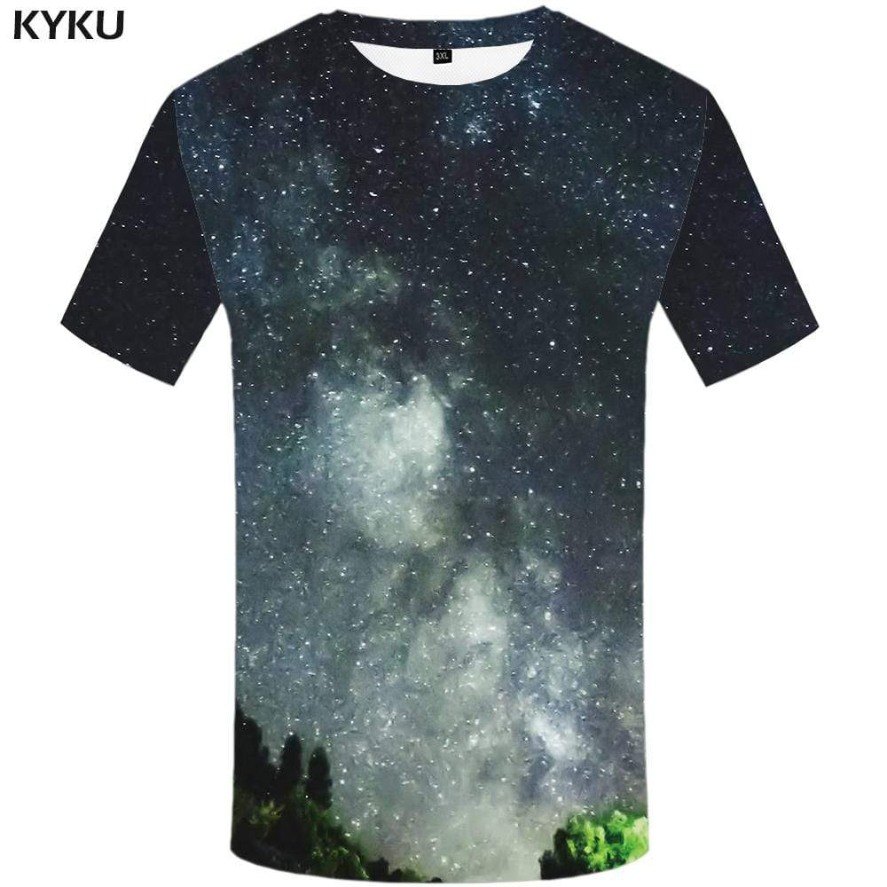 Galaxy Space T shirt Men Forest Tshirt Anime Gray T shirts Funny Nebula T-shirt 3d Harajuku Tshirts Print Mens Fashion