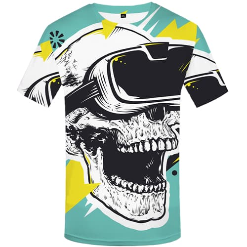 Skull T shirts Men Painting Tshirts Casual Cartoon Tshirt Anime Short Sleeve