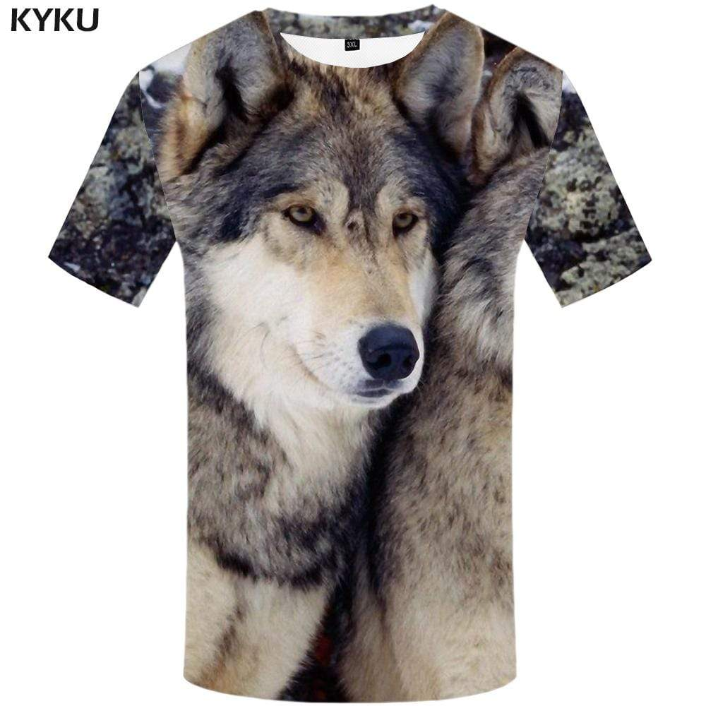 KYKU Wolf T shirt Men Gray T shirts Funny Animal Tshirts Print Harajuku T-shirt 3d Tshirt Anime Mens Fashion Short Sleeve