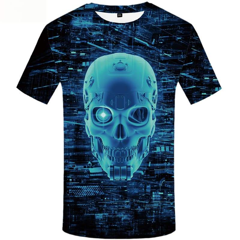Skull T shirts Men Galaxy Space T shirts Funny Metal T-shirts 3d Short Sleeve