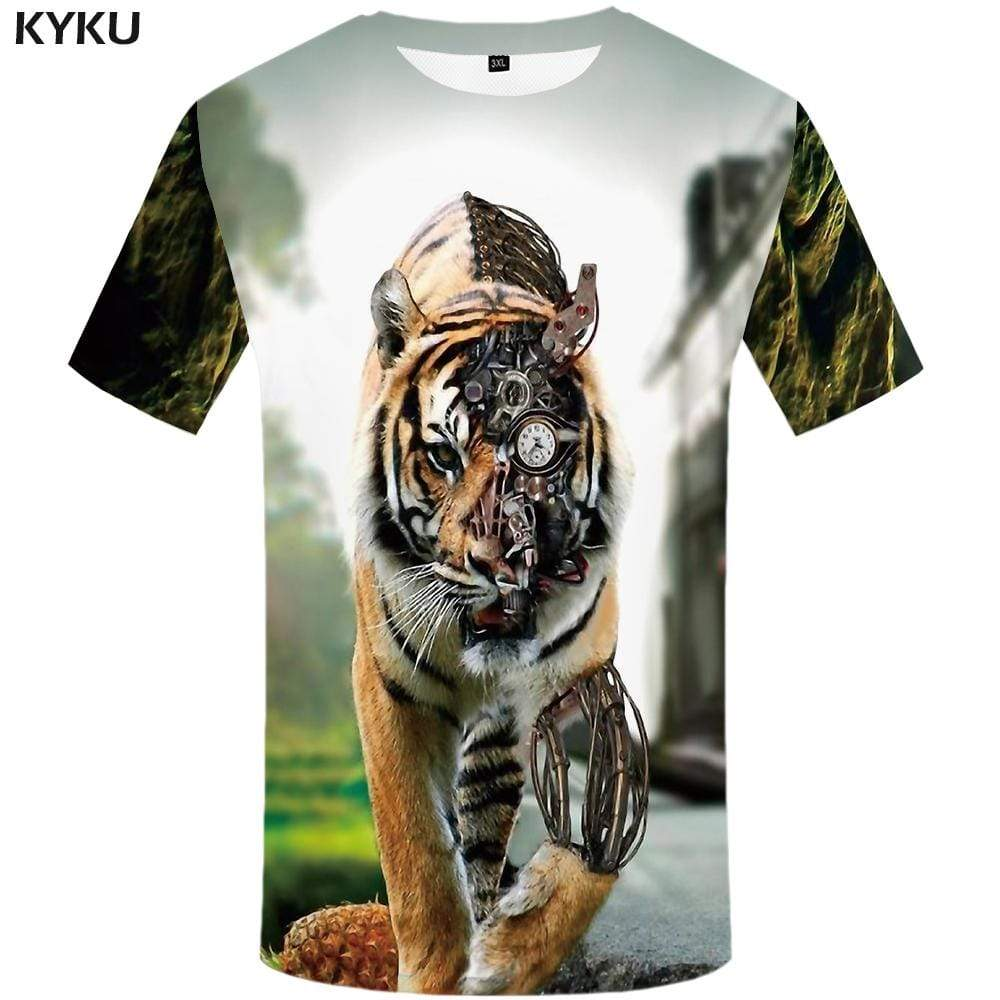 Tiger T-shirts Men Metal T-shirt 3d Animal Tshirts Print Mechanical Tshirt Anime Abstract T shirts Funny Mens Clothing Casual