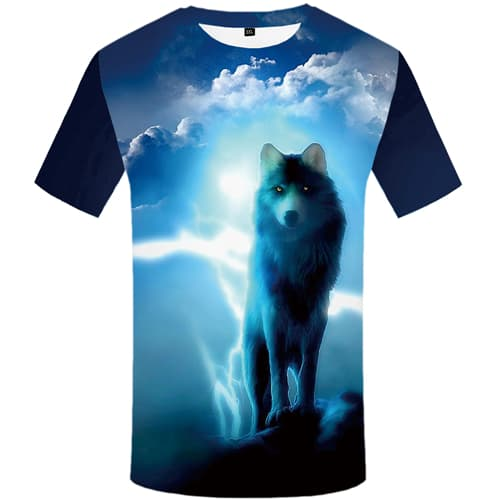 Wolf T shirt Men Lightning T-shirt 3d Animal Tshirt Anime Blue Tshirts Print Cloud T shirts Funny Mens Clothing Short Sleeve