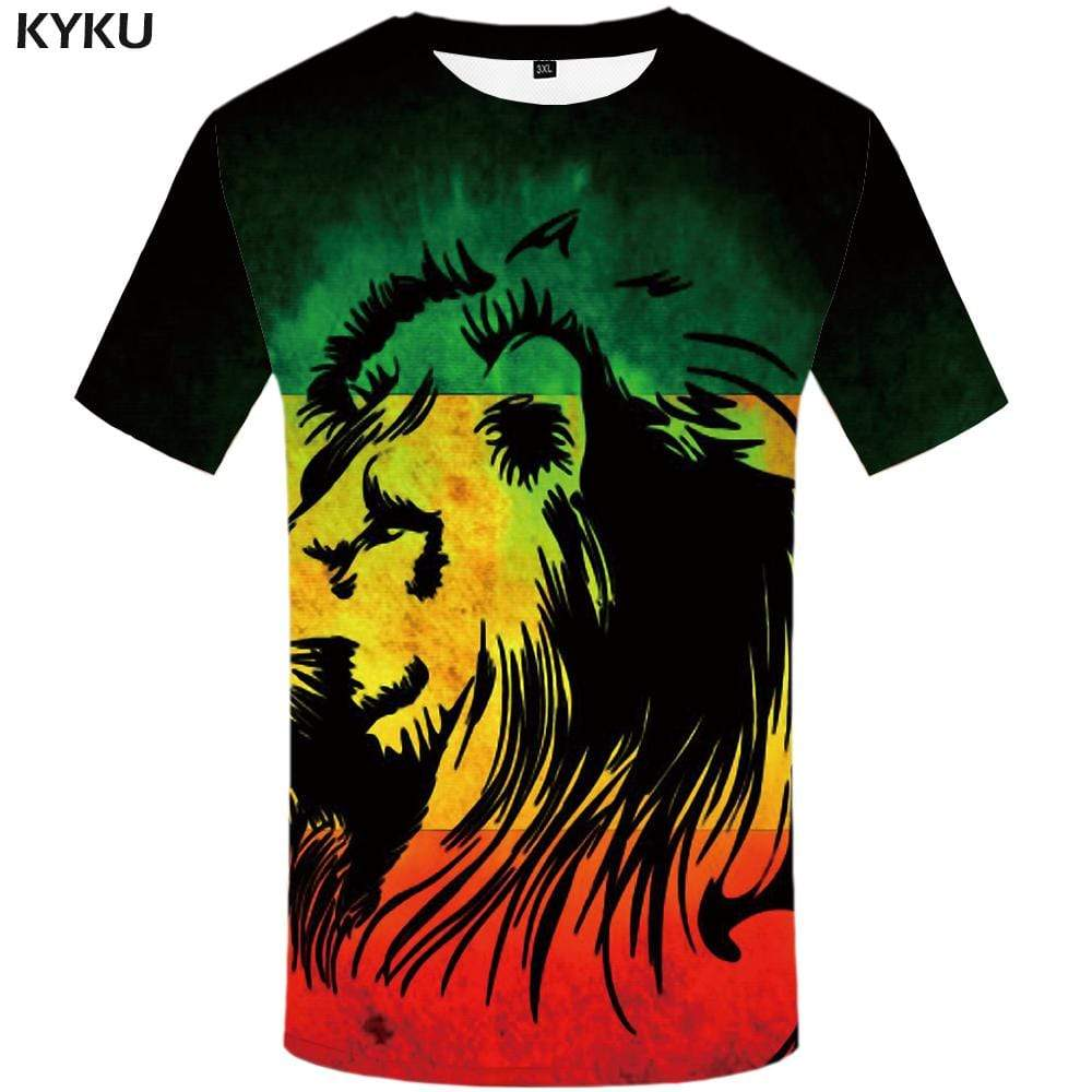 Lion T shirt Men Animal Tshirt Anime Graffiti Tshirts Print Art T-shirt 3d Harajuku T shirts Funny Mens Clothing Hip hop Unisex
