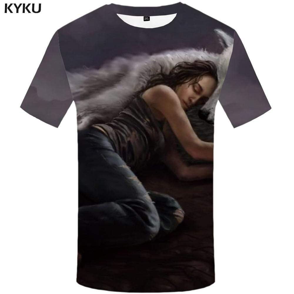 Wolf T shirt Men Animal T shirts Funny Angry Tshirts Print Gray Tshirt Anime T-shirt 3d Mens Clothing Graphic Unisex Printed