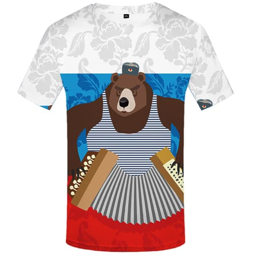 Bear T-shirt Men Russia T-shirts Graphic Music Tshirt Anime Short Sleeve summer